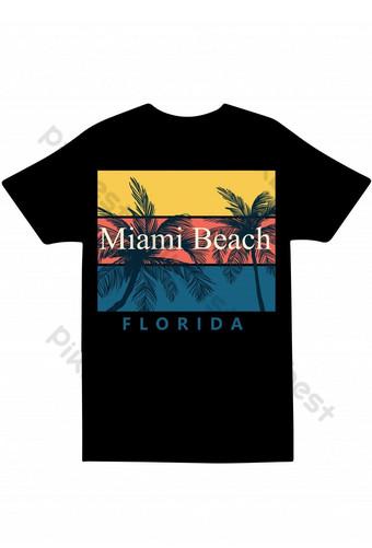 Desain Miami Beach Florida t shirt Templat EPS
