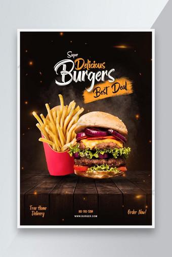 Diseño de carteles de hamburguesa 2021 Modelo PSD