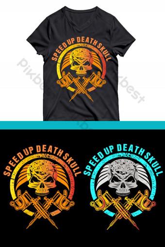 Diseño divertido de la camiseta del cráneo Elementos graficos Modelo AI