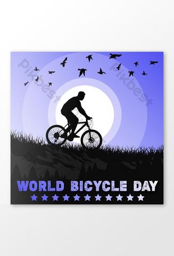 世界自行車日祝福設計 模板 EPS
