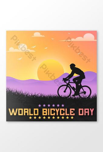 世界自行車日祝社交媒體設計 模板 EPS