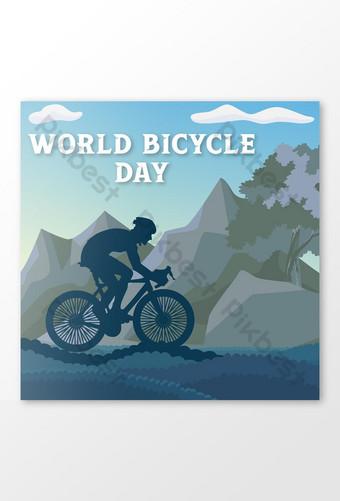 世界自行車日社交媒體願望矢量設計 模板 EPS