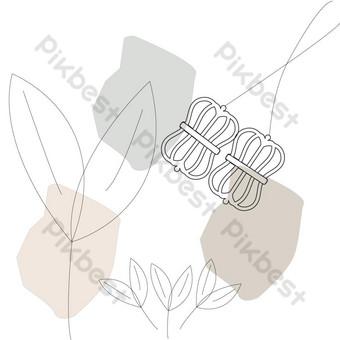 Line Art Flower PNG y vector Elementos graficos Modelo AI