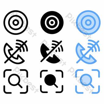 Icône de but avec trois styles de site Web et interface utilisateur Éléments graphiques Modèle EPS