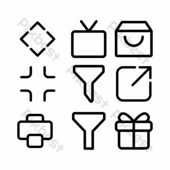user interface icon set with outline style for website PNG Images Template EPS