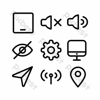 user interface icon set with outline style for presentation and banner PNG Images Template EPS