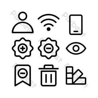 user interface icon set with outline style for presentation and poster PNG Images Template EPS