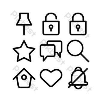 interface icon set with outline style for banner PNG Images Template EPS
