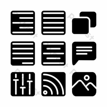user interface icon set with glyph style for poster PNG Images Template EPS