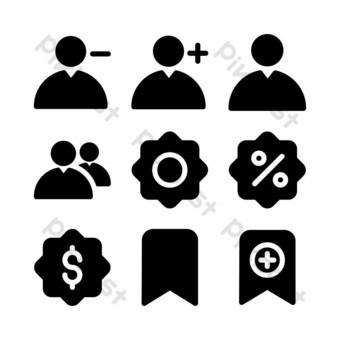 user interface icon set with glyph style for presentation and website PNG Images Template EPS
