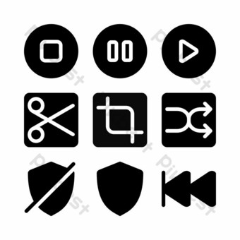 interface icon set with glyph style for social media PNG Images Template EPS