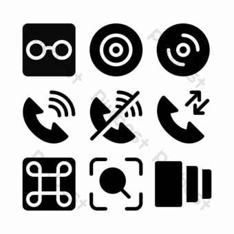 interface icon set with glyph style for presentation and poster PNG Images Template EPS
