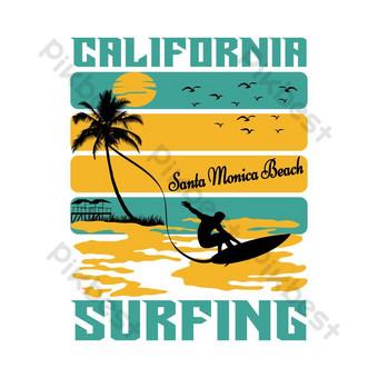 Diseño de la camiseta de la playa de Santa Monica de California Surfing Elementos graficos Modelo EPS