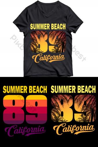 Diseño de camiseta de la playa de verano de California Elementos graficos Modelo AI