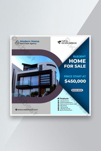 Real Estate Elegant Home For Sale Social Media Banner and Instagram Post Template PSD