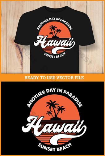 تي شيرت تصميم - حروف شاطئ هاواي صور PNG قالب EPS