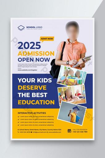 Admisión escolar Flyer Design School Flyer DISEÑO Volver a la escuela Diseño Flyer Modelo EPS