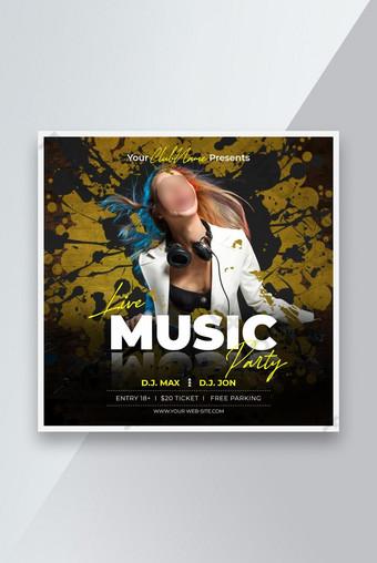 Music Night Party Social Media Instagram Poste bannière ou modèle de dépliant carré Modèle PSD