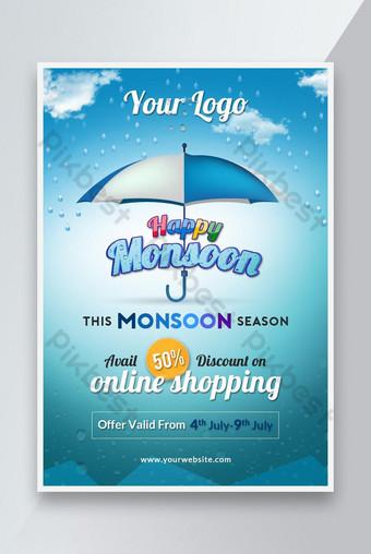 Monsoon season promotional poster design Template PSD
