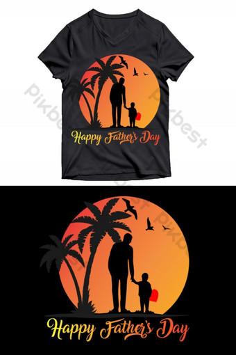 سعيد الأب يوم تي شيرت تصميم صور PNG قالب EPS