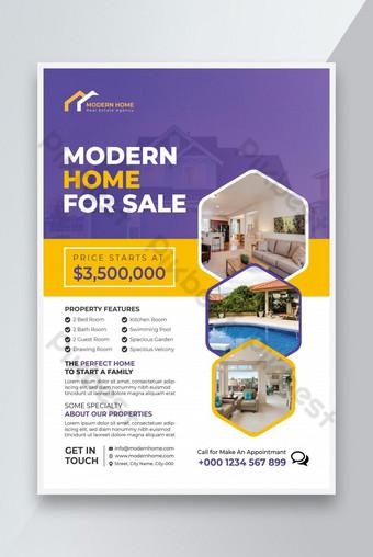 Immobilier Flyer Agence immobilière Flyer ou maison à vendre Modèle de conception Flyer Modèle EPS