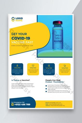 COVID 19 Modèle de conception de flyer de vaccination Virus Virus Modèle EPS