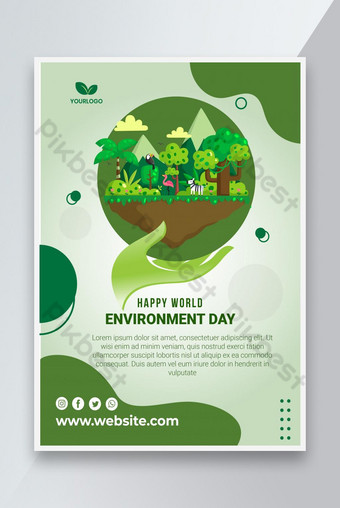 World environment day flyer Template AI