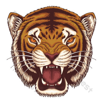 Ilustración de vector de cabeza de tigre enojado Elementos graficos Modelo EPS