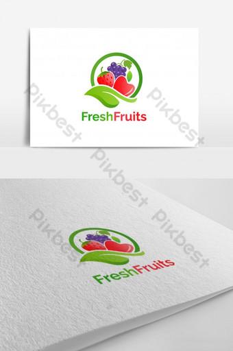 Diseño de logo de vector de frutas frescas Modelo EPS