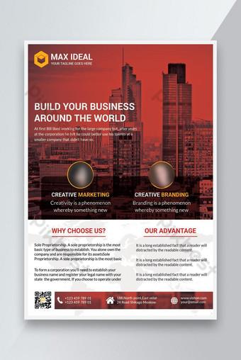 Plantilla de cartel de color rojo folleto de negocios corporativos Folleto de folleto Tamaño de la cubierta A4 Modelo PSD