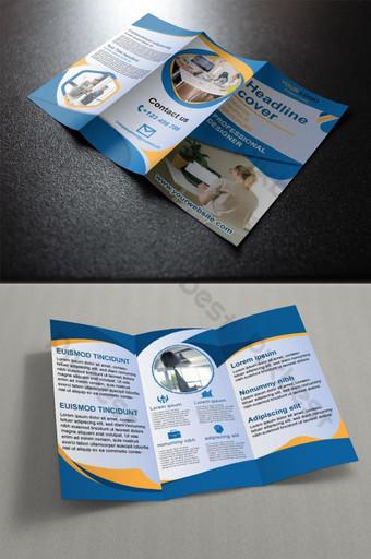Dicetak Trifold Brochure Template Desain Vektor Unduh Templat EPS