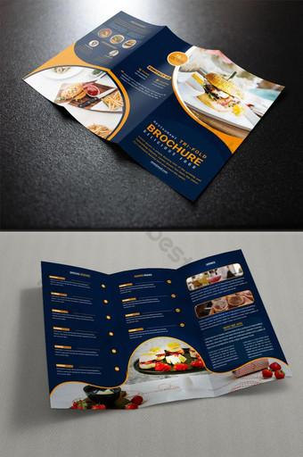 Restaurant Food Tri Lipat Desain Template Brosur Templat AI