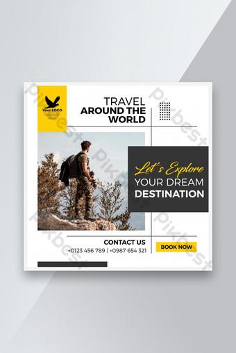 Pelancongan Moden Pelancongan Media Sosial Post Iklan Templat AI