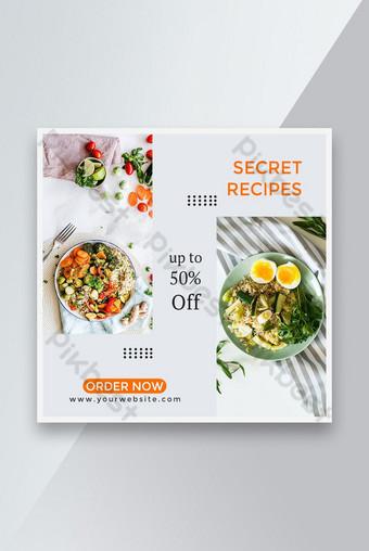 Restoran Banner Jualan Makanan Sihat Templat PSD