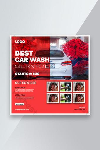 Servicio de lavado de coches Promoción de medios de comunicación social Post banner plantilla Modelo AI