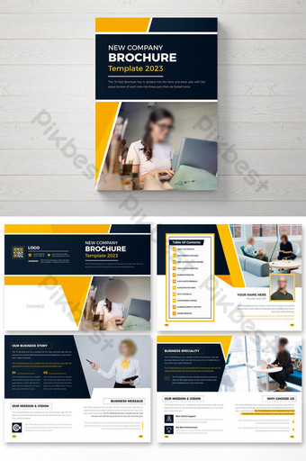 16 pages colorful abstract business brochure design template Template AI