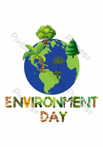 Diseño gráfico del elemento gráfico del día del medio ambiente con la tipografía del árbol y la naturaleza Elementos graficos Modelo AI