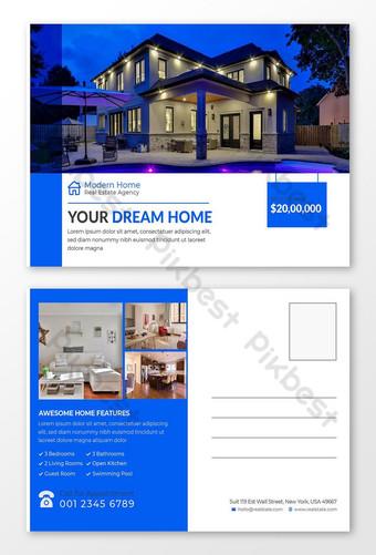 Modèle de conception de carte postale de l'immobilier et de marketing d'entreprise Modèle EPS