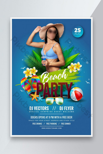 Summer Beach Party Flyer Affiche design Modèle AI