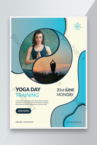 International yoga day event promotion flyer template Template AI