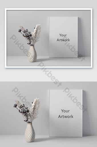 khung poster mockup với bình hoa Bản mẫu PSD