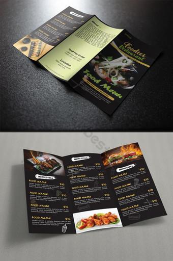 Menu Makanan Tri Fold Brochure Design Templat AI