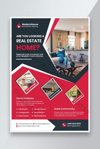 Modèle de conception d'affiches de dépliant immobilier A4 Taille Modèle EPS