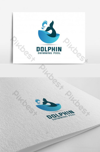 Dolphin Piscina Logo Diseño D letra logo Modelo EPS