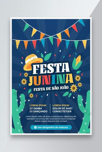 Festa Junina Greeting Flyer Brazil June Festival on Blue Background Template AI