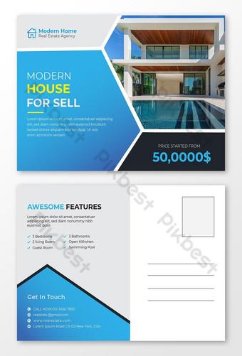 Modèle de conception de cartes postales de l'immobilier professionnel et moderne Modèle EPS