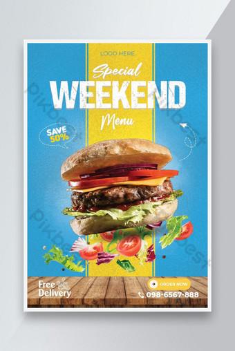 Sayuran dan Makanan Delicious menu Restaurant Poster Template Templat PSD