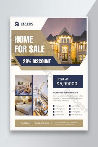 Flyer d'affaires d'entreprise immobilier pour la vente à la maison Modèle AI