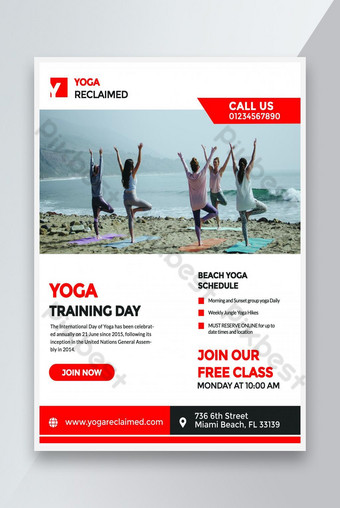International yoga day training fitness promotional flyer Template PSD