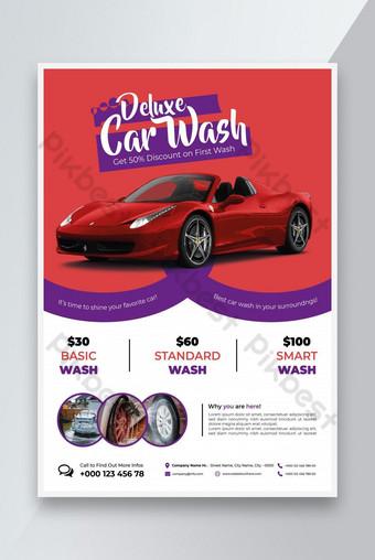 Servicio de lavado de automóviles Plantilla de volante Lavado de coches Flyer Modelo de diseño Modelo EPS